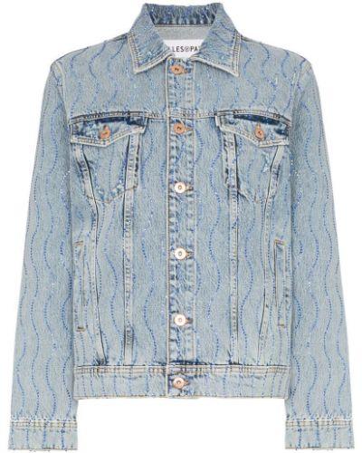 Синяя джинсовая куртка со стразами Filles A Papa