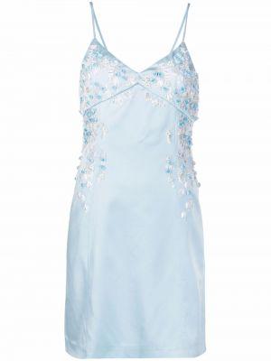 Синее платье мини с вышивкой с вырезом Blumarine