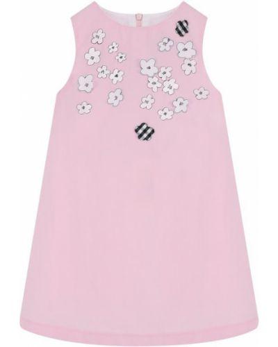 Платье мини розовое с цветочным принтом Simonetta