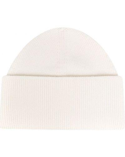 Шерстяная белая шапка бини в рубчик Mm6 Maison Margiela