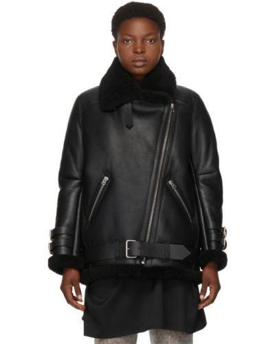 Черная куртка-пилот с манжетами для полных с поясом Acne Studios