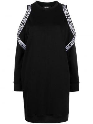 С рукавами черное платье миди с открытыми плечами Karl Lagerfeld