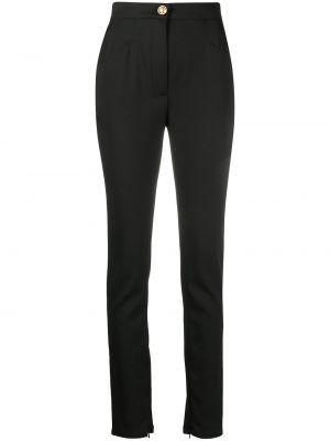 Черные с завышенной талией брюки с карманами Balmain