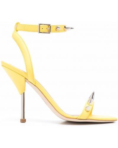Sandały skórzane na obcasie - żółte Alexander Mcqueen