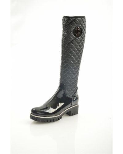 Кожаные сапоги черные на каблуке Loretta Pettinari