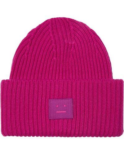 Вязаная шапка розовый с отворотом Acne Studios