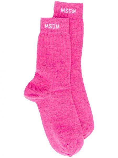 Розовые носки в рубчик из альпаки Msgm