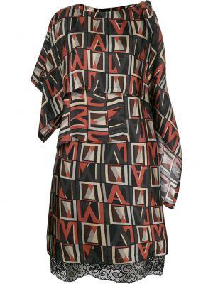 Черное прямое шелковое платье с круглым вырезом Antonio Marras