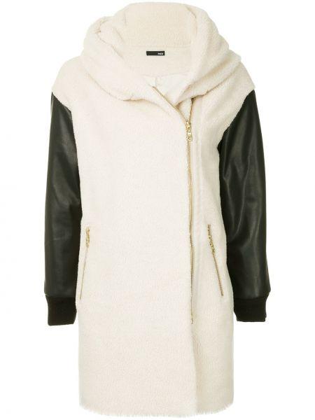 Акриловое белое длинное пальто с капюшоном Frei Ea