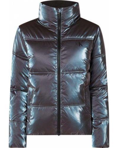 Fioletowy kurtka jeansowa z kieszeniami z zamkiem błyskawicznym ze stójką Calvin Klein Jeans