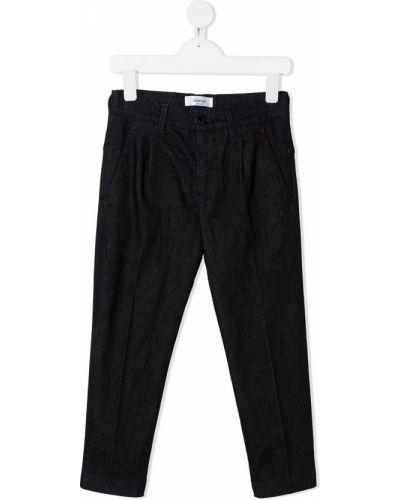 Прямые синие прямые джинсы с вышивкой с карманами Dondup Kids