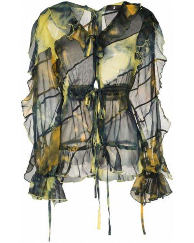 Желтая блузка с длинным рукавом прозрачная Asai