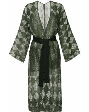 Длинное пальто зеленое с узором гусиные лапки Zero + Maria Cornejo