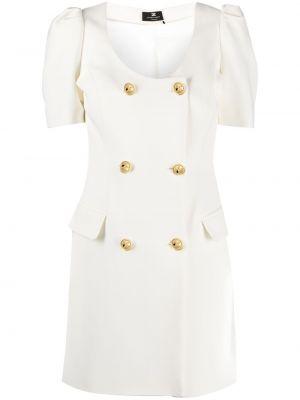 Золотистое платье мини с вырезом на пуговицах Elisabetta Franchi
