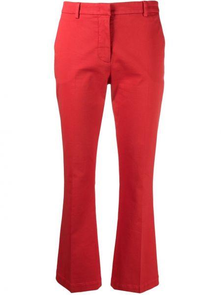 Красные расклешенные хлопковые укороченные брюки Pt01