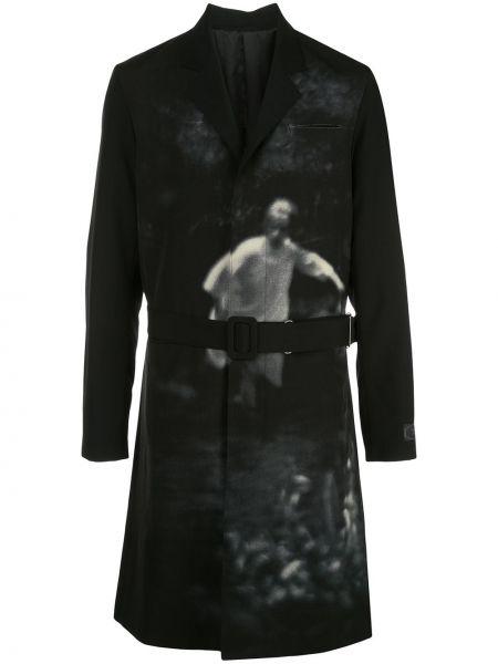 Czarny płaszcz z paskiem bawełniany Undercover