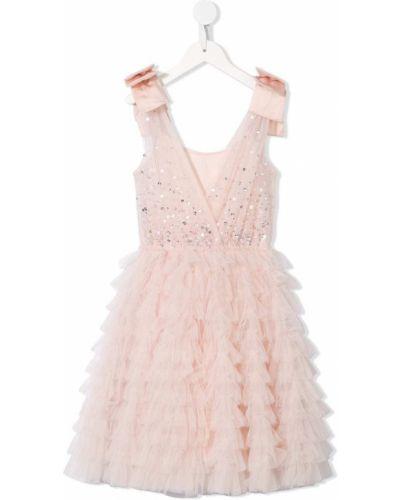 Расклешенное розовое пышное платье с вырезом без рукавов Tutu Du Monde
