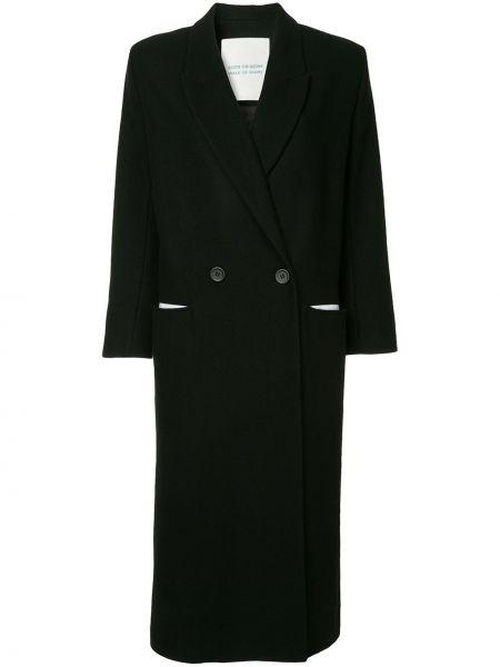 Черное однобортное шерстяное пальто с воротником Walk Of Shame