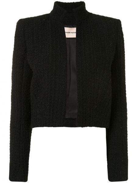 Черный удлиненный пиджак твидовый с воротником Alexandre Vauthier