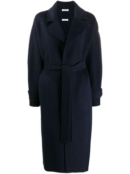 Синее шерстяное длинное пальто оверсайз P.a.r.o.s.h.
