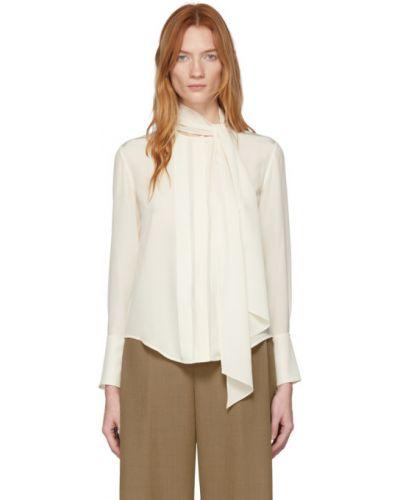 Блузка с длинным рукавом шелковая с воротником-стойкой Chloe