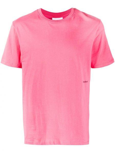 Прямая хлопковая розовая футболка в рубчик Soulland