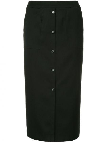 Черная прямая юбка на пуговицах из вискозы Guild Prime