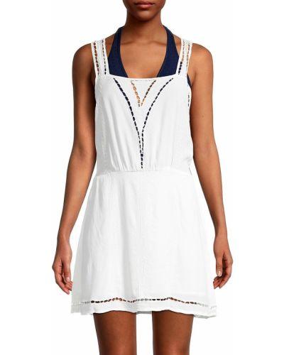 Кружевное белое платье мини без рукавов Tiare Hawaii