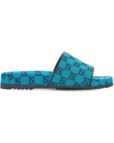 Niebieskie sandały skorzane Gucci