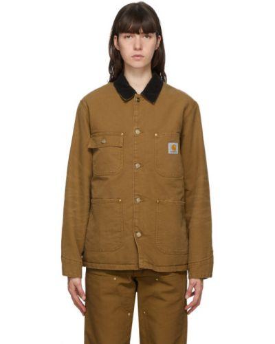 Czarny pikowana płaszcz z kieszeniami z kołnierzem z długimi rękawami Carhartt Work In Progress