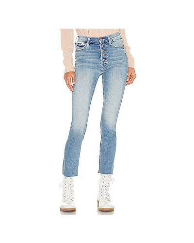 Хлопковые синие прямые джинсы Mother