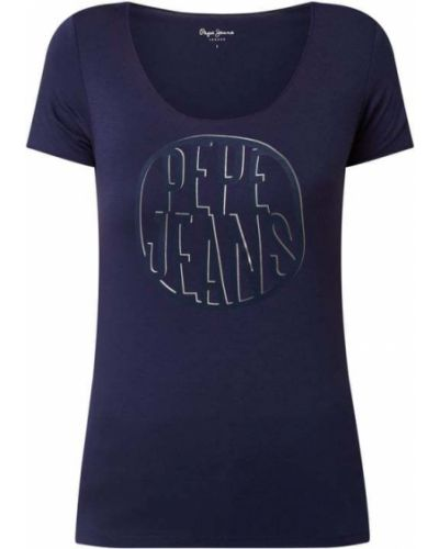 Niebieski koszula jeansowa z wiskozy z printem Pepe Jeans