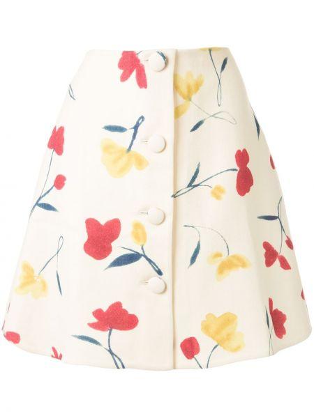 Юбка мини с завышенной талией с цветочным принтом Oscar De La Renta