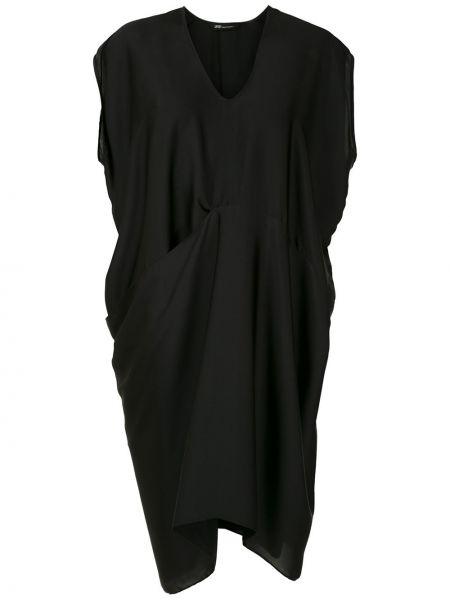 Черное платье миди с драпировкой свободного кроя с короткими рукавами Uma   Raquel Davidowicz