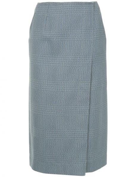 Серая с завышенной талией юбка миди в рубчик с карманами Calvin Klein 205w39nyc