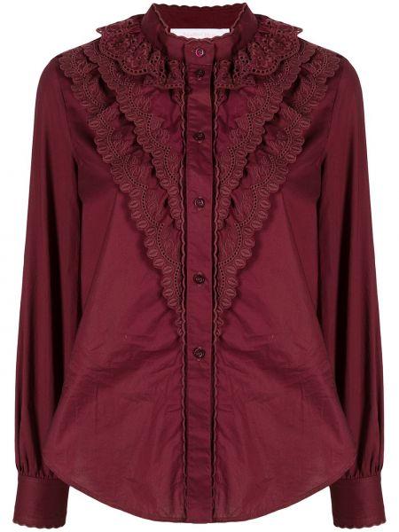 Красная рубашка с высоким воротником с вышивкой See By Chloé