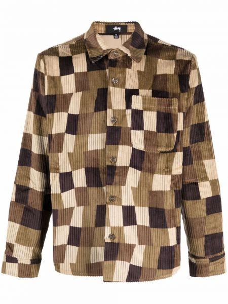 Длинная рубашка - коричневая Stussy