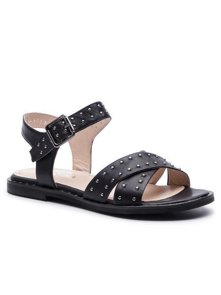 Czarne sandały srebrne na co dzień Badura