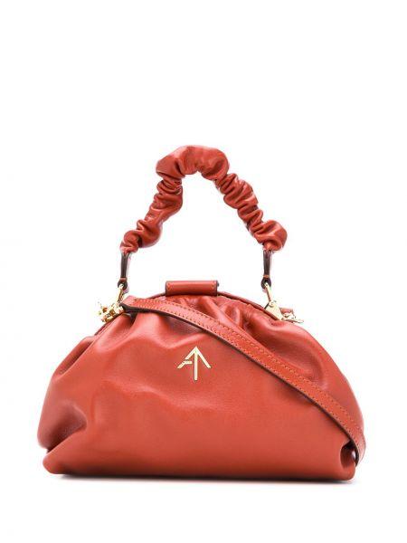 Кожаная красная сумка на плечо Manu Atelier