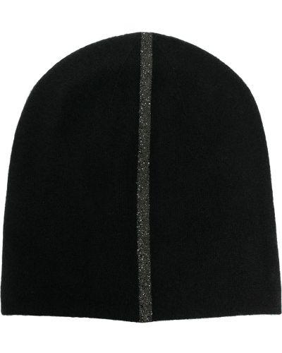 Кашемировая теплая черная шапка бини с нашивками Warm-me