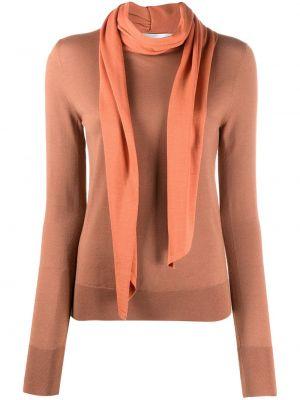 С рукавами оранжевый шерстяной длинный свитер Victoria Beckham