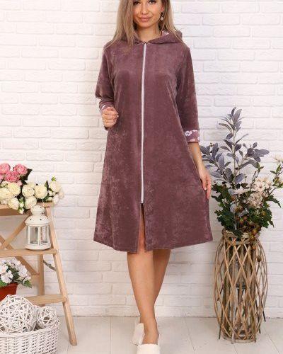 Коричневый велюровый халат инсантрик