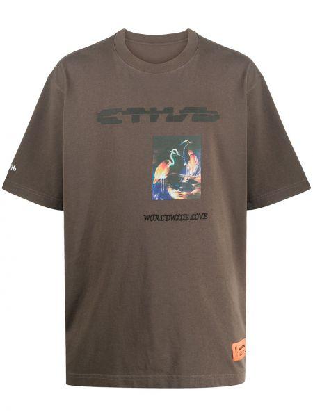 Bawełna brązowy prosto koszula krótkie z krótkim rękawem krótkie rękawy Heron Preston