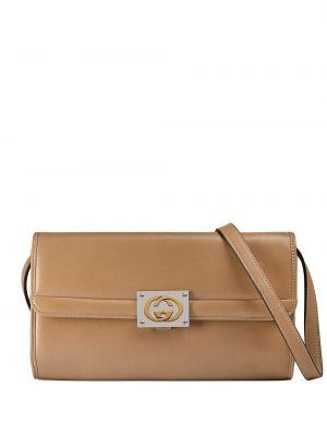 Skórzany beżowy z paskiem mini torebka z ozdobnym wykończeniem Gucci