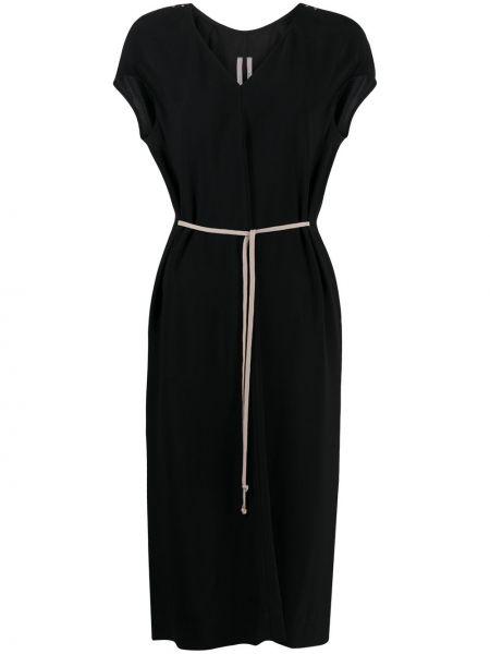 Czarny sukienka midi z dekoltem w szpic z wiskozy krótkie rękawy Rick Owens