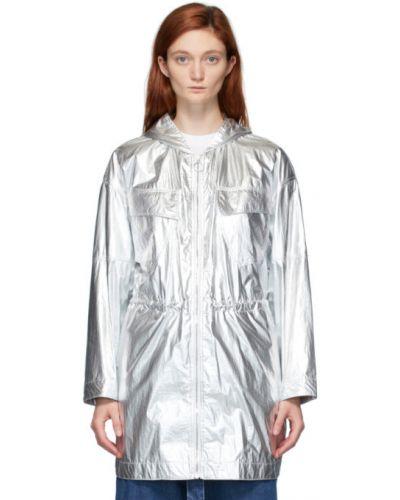 Длинная куртка серебряная с карманами Stella Mccartney