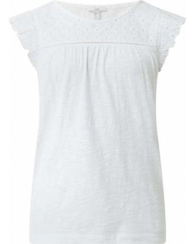 Biała bluzka bawełniana z haftem Esprit