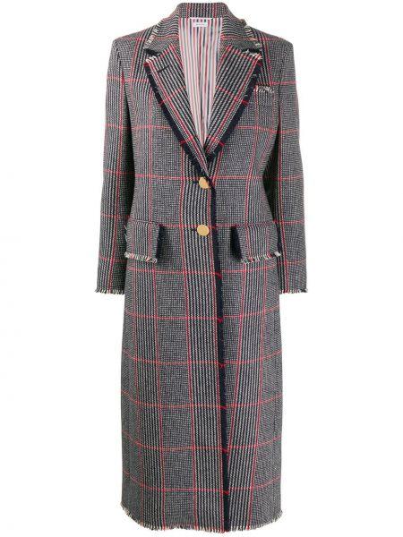 Синее шерстяное пальто классическое в клетку Thom Browne