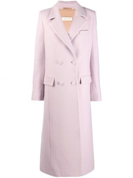 Розовое шерстяное длинное пальто двубортное Ssheena