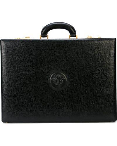 Золотистый кожаный черный портфель Versace Pre-owned